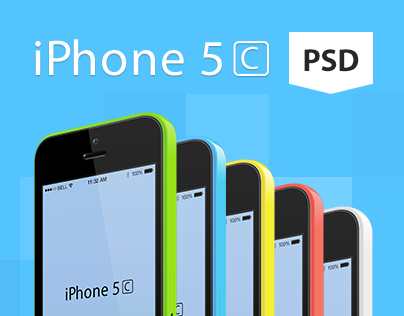 Iphone 5C Free Vector PSD Mockup