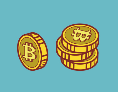 Bitcoins. Set of illustrations