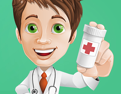 Male Doctor Cartoon Character Set