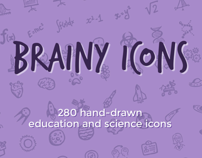 Brainy Icons: Hand-drawn Science and Education Icons