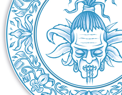 Shrunken head blue and white plate design