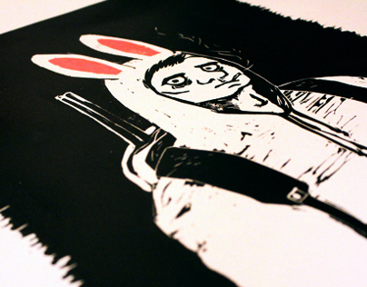 Hunter - Lino print