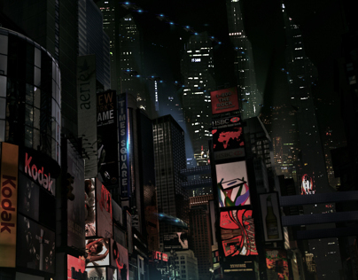 Futuristic city matte painting