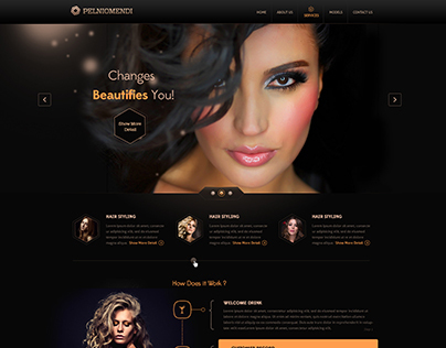 Premium Web Template PSD - Hair Salons - UI/UX