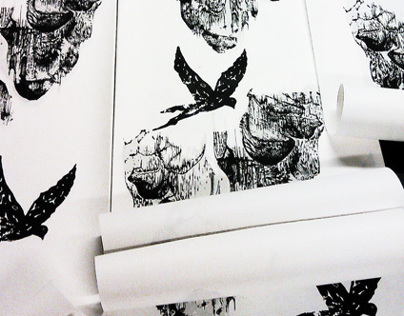 Wallpapers hand screen printed for RED POPPY