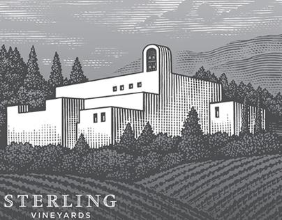 Sterling Vineyards Label Illustrated by Steven Noble