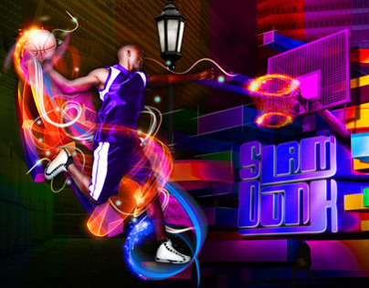 SLAM DUNK Basketball illustration and 3D typography