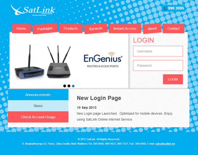 Internet Login Page for SatLink Maldives