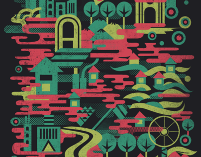 Colorful City commissioned design for PunchdrunkPanda