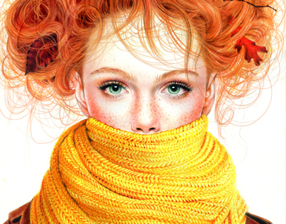 Colored Pencil Fall Girl, 2012
