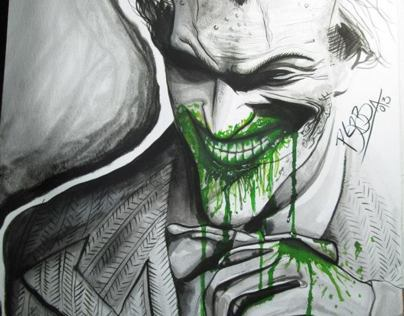 JOKER (TINTA CHINA Y ECOLIN) arkham city