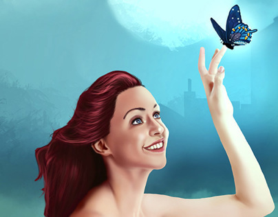 Angel with Butterfly | Digital Painting