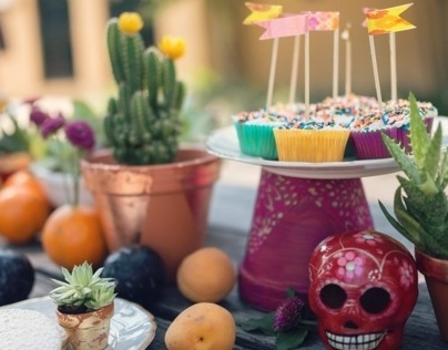 A colorful Dia de muertos inspired engagement party