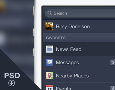 Free PSD - Facebook iOS6 Menu