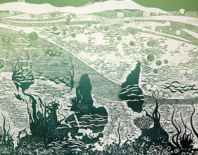 World ecosystem woodcut print