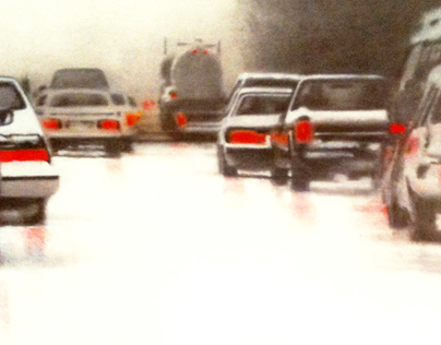 CARS ON SNOW-COVERED FREEWAY (Syracuse. New York State.