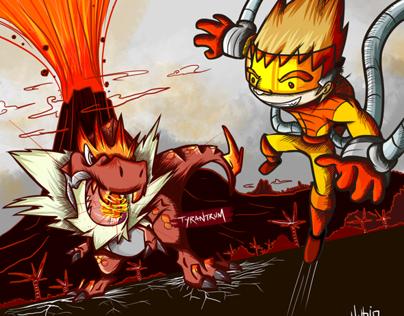 Tyrantrum vs Pyro