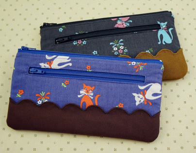 Cat pattern zip wallets