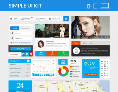 Simple UI Kit - Flat UI Elements