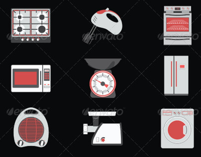 Home and Kitchen Aplliances Flat Icons Vector Set