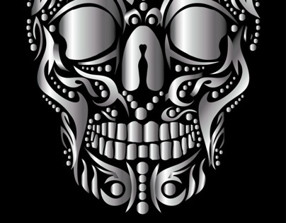 tattoo tribal silver skull vector art