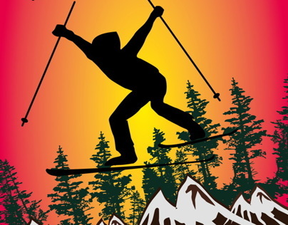 winter sports skier vector art
