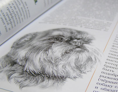 Hand drawn dog portraits in magazine