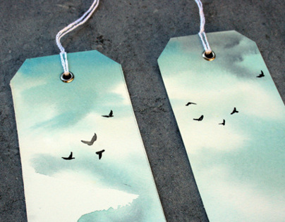 Bookmarks watercolors landscape with birds flying