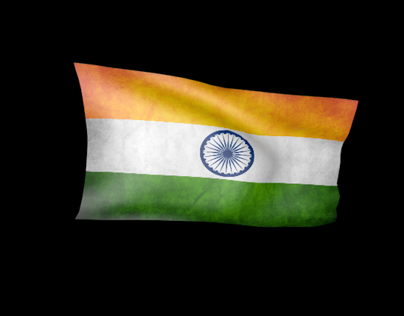 Indian Astronaut on the Moon :: Indian Flag