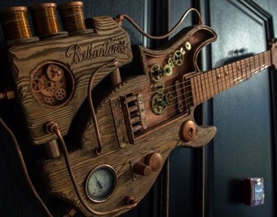 Steampunk Guitar Ballantine's for Double Grill & Bar