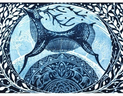 Winter Deer Linocut Print