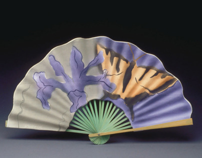 Chinese Fan, Made from Porcelain and Bamboo