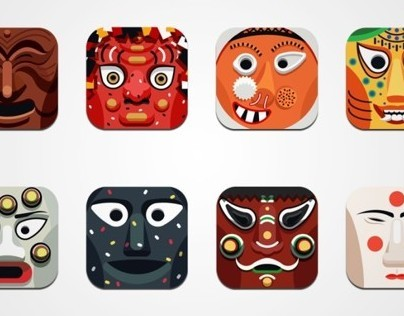 Korean traditional mask icon