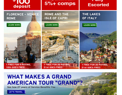 Grand American Tours: HTML Emails & Web Pages