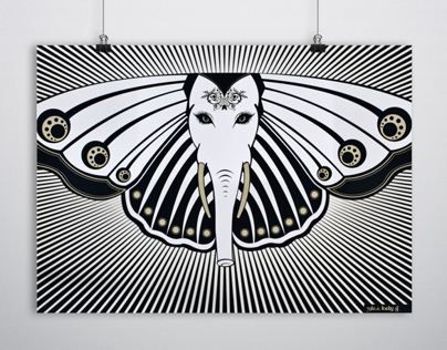 GANESH BUTTERFLY SCREEN PRINT POSTER