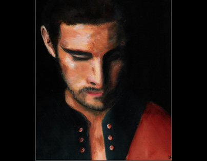 Portrait à lacrylique de Guy Berryman