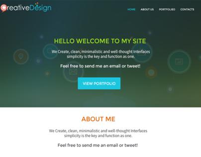 Web portfolio work, one page layout