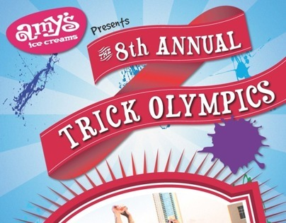 Poster for Amys Ice Creams. Annual Trick Olympics.