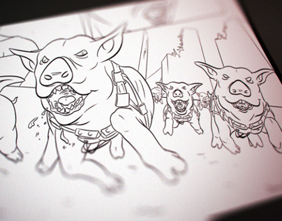 Time Swine comic - Inks