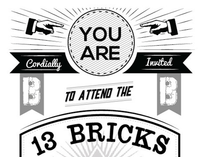 13 Bricks Fundraising Gala Invitation