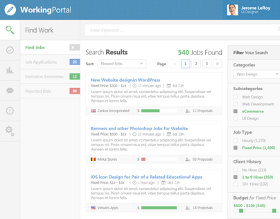Working Portal - Dashboard