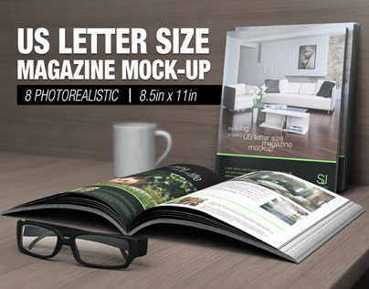 US Letter Size Magazine Mock-up