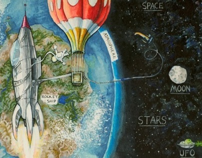 "Children's Book - ""Above Earth"" page"
