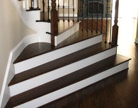Curved stair treads and radius handrail