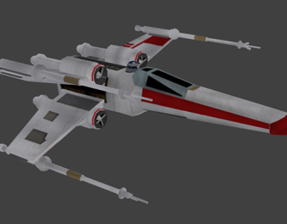 3D model - Low poly Xwing with R2D2
