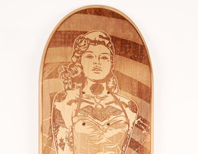 Black Widow Laser Cut Skateboard