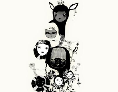 Reinventing memories. White illustration for kids