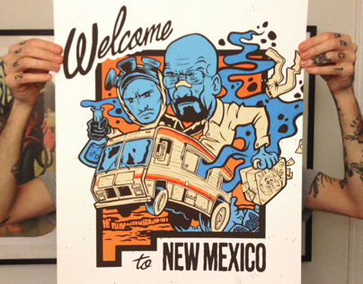 Welcome to NEW MEXICO Screen print 6 colours / BREAKI