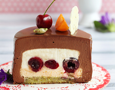 Pistachio, apricot and cherry chocolate entremet