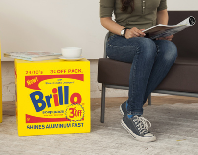Yellow Warhol Brillo Box Pouf photo shot